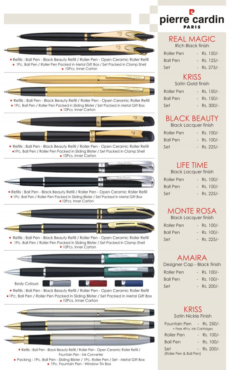 parker pen price list